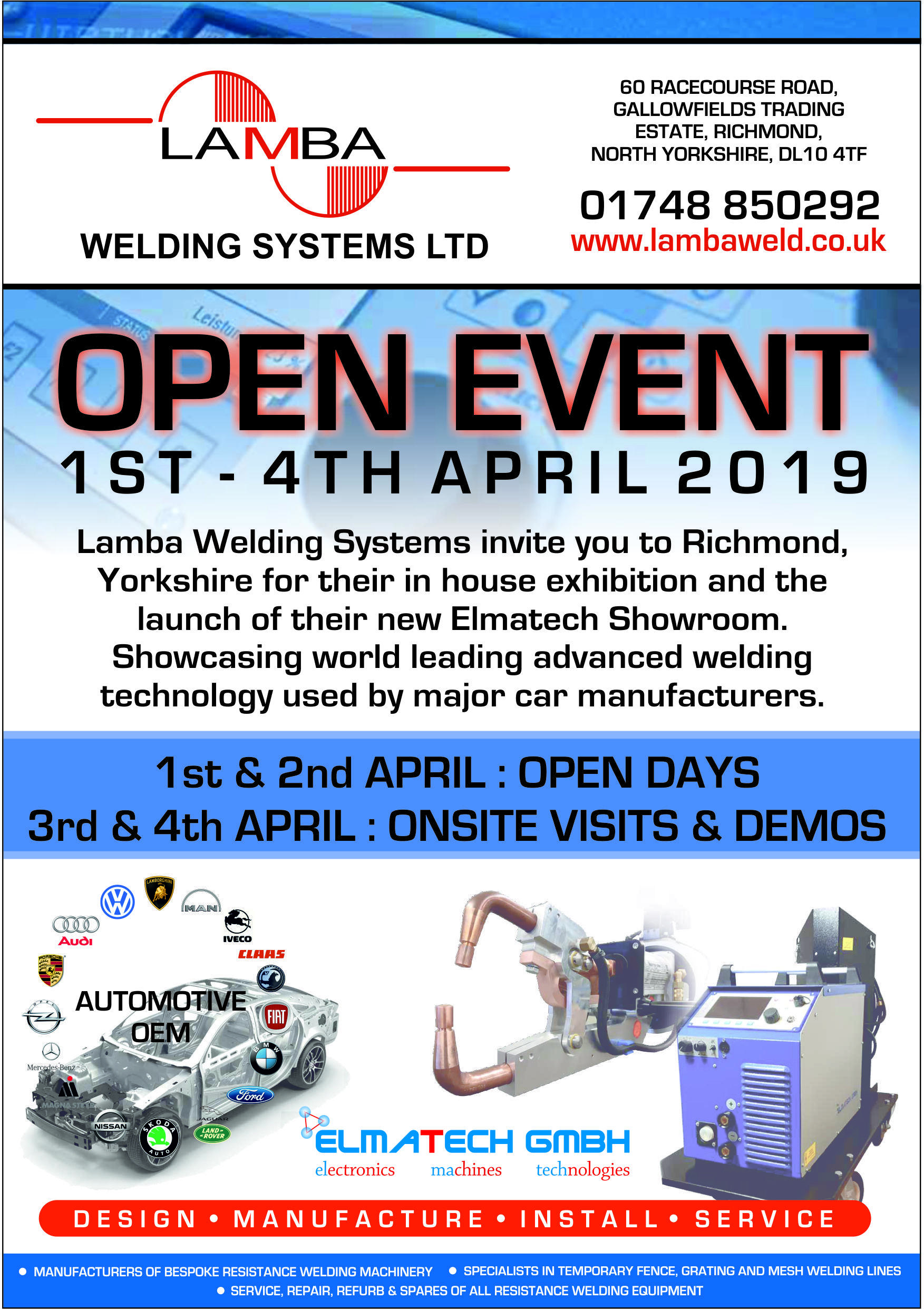 Open Event at LAMBA WELDING SYSTEMS, Richmond, UK, 1st - 4th April 2019.