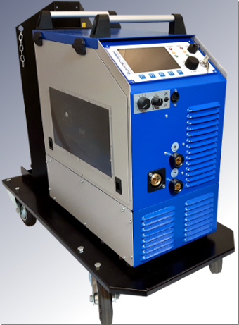 Gas-cooled ELMA-Tech AC welding machine MIDI MIG 300/800 AC / DC G with VM3 welding process control.